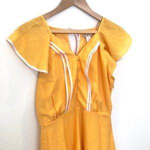 ✨ Retro 50s Pin Up Yellow White Diner Dress M ✨